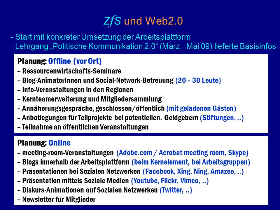 Z f S und Web2.0 Planung: Offline(vor Ort) – Ressourcenwirtschafts-Seminare – Blog-AnimatorInnen und Social-Network-Betreuung (20 – 30 Leute) – Info-Veranstaltungen in den Regionen – Kernteamerweiterung und Mitgliedersammlung – Annäherungsgespräche, geschlossen/öffentlich (mit geladenen Gästen) – Anbotlegungen für Teilprojekte bei potentiellen.
