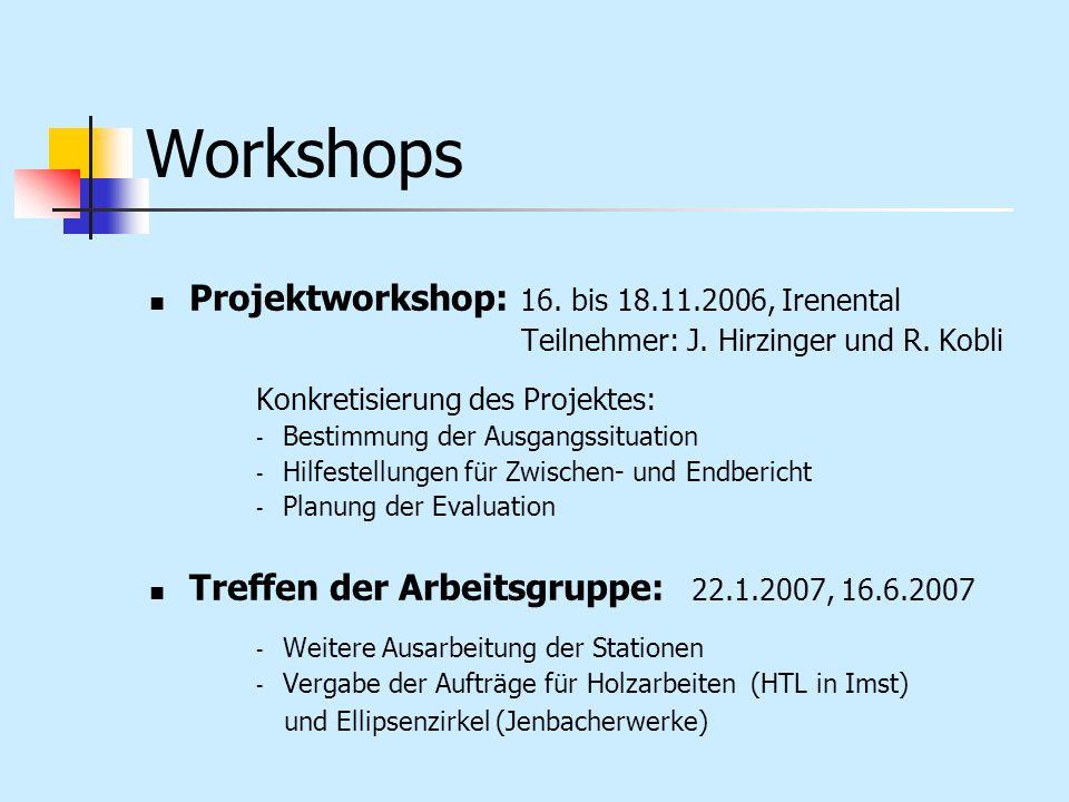 Workshops Projektworkshop: 16. bis 18.11.2006, Irenental Teilnehmer: J. Hirzinger und R. Kobli Konkretisierung des Projektes: - Bestimmung der Ausgang