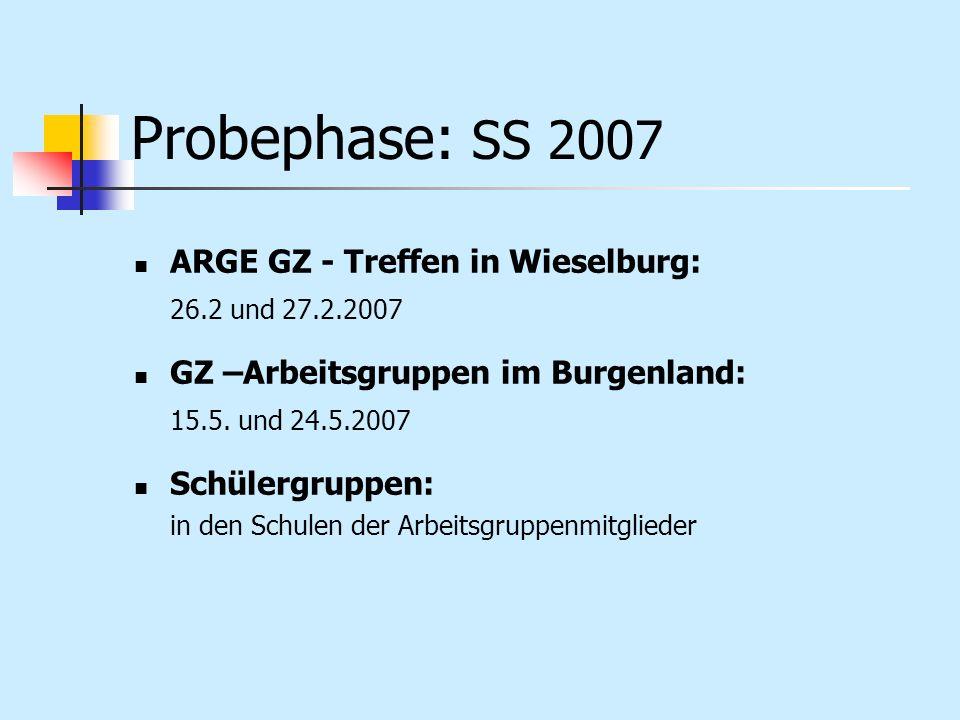 Probephase: SS 2007 ARGE GZ - Treffen in Wieselburg: 26.2 und 27.2.2007 GZ –Arbeitsgruppen im Burgenland: 15.5. und 24.5.2007 Schülergruppen: in den S