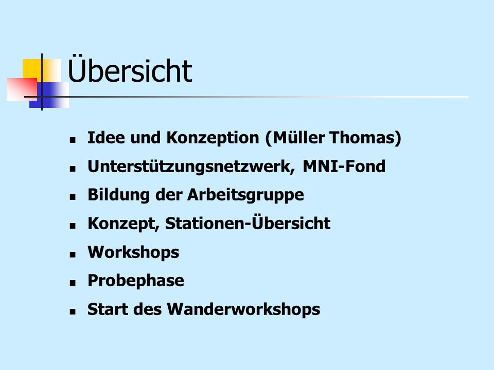 Übersicht Idee und Konzeption (Müller Thomas) Unterstützungsnetzwerk, MNI-Fond Bildung der Arbeitsgruppe Konzept, Stationen-Übersicht Workshops Probep