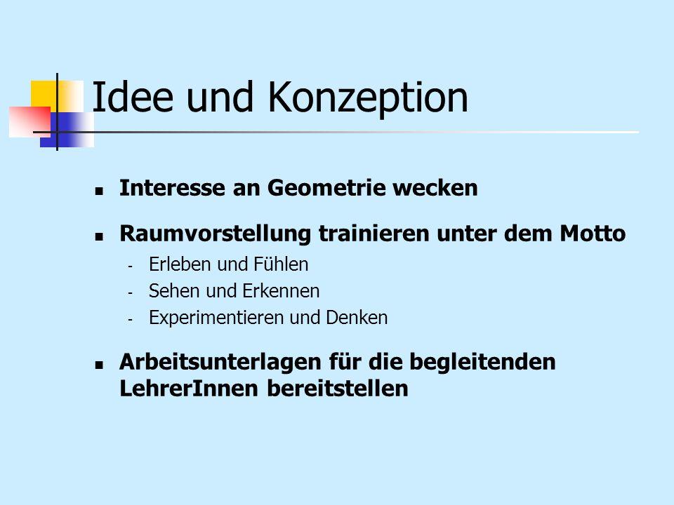 Idee und Konzeption Interesse an Geometrie wecken Raumvorstellung trainieren unter dem Motto - Erleben und Fühlen - Sehen und Erkennen - Experimentier