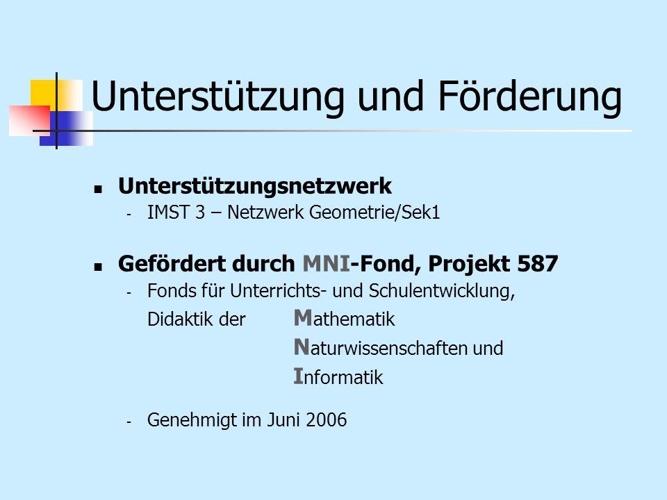 Unterstützung und Förderung Unterstützungsnetzwerk - IMST 3 – Netzwerk Geometrie/Sek1 Gefördert durch MNI-Fond, Projekt 587 - Fonds für Unterrichts- u