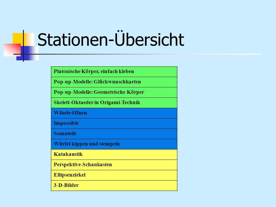 Stationen-Übersicht Platonische Körper, einfach kleben Pop-up-Modelle: Glückwunschkarten Pop-up-Modelle: Geometrische Körper Skelett-Oktaeder in Origa