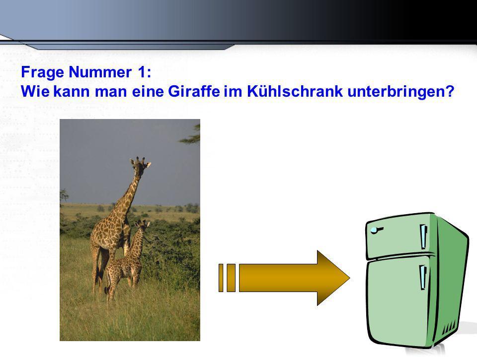 Die richtige Antwort lautet: Öffnen Sie den Kühlschrank, setzen Sie die Giraffe hinein und schließen Sie die Tür.