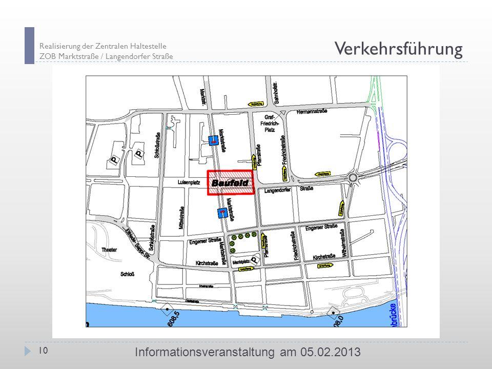 Realisierung der Zentralen Haltestelle ZOB Marktstraße / Langendorfer Straße 10 Informationsveranstaltung am 05.02.2013 Verkehrsführung