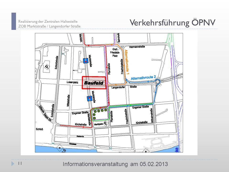 Realisierung der Zentralen Haltestelle ZOB Marktstraße / Langendorfer Straße 11 Informationsveranstaltung am 05.02.2013 Verkehrsführung ÖPNV