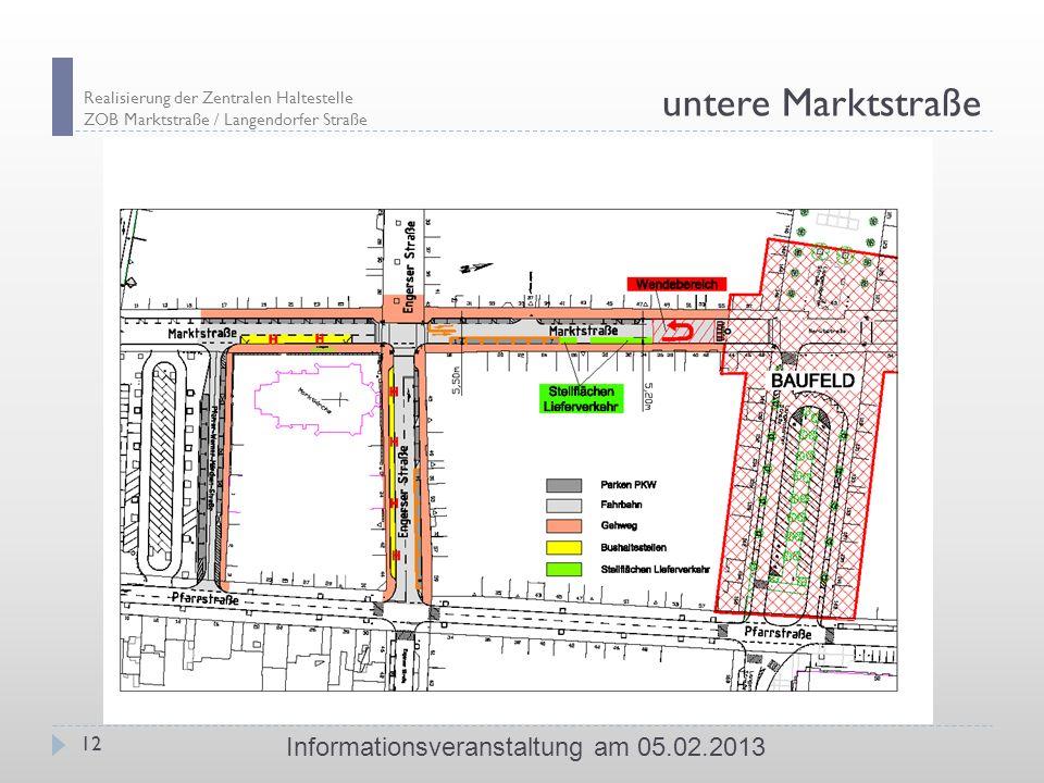 Realisierung der Zentralen Haltestelle ZOB Marktstraße / Langendorfer Straße 12 Informationsveranstaltung am 05.02.2013 untere Marktstraße