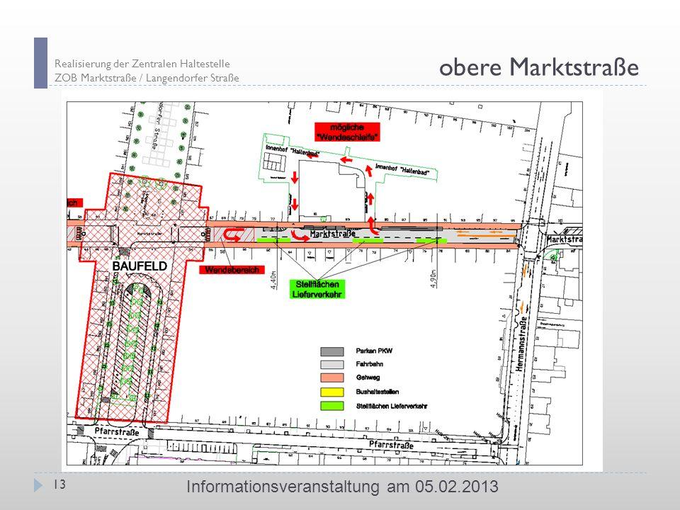 Realisierung der Zentralen Haltestelle ZOB Marktstraße / Langendorfer Straße 13 Informationsveranstaltung am 05.02.2013 obere Marktstraße