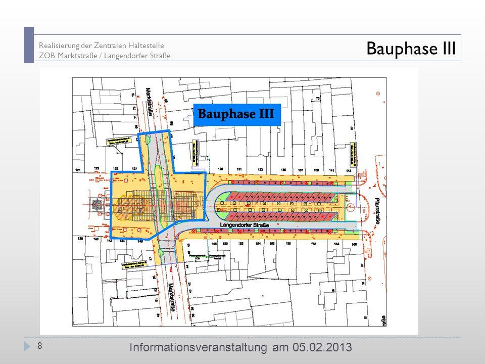 Realisierung der Zentralen Haltestelle ZOB Marktstraße / Langendorfer Straße Bauphase III Informationsveranstaltung am 05.02.2013 8