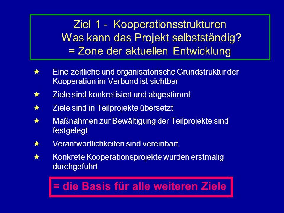 Ziel 1 - Kooperationsstrukturen Was kann das Projekt selbstständig? = Zone der aktuellen Entwicklung Eine zeitliche und organisatorische Grundstruktur