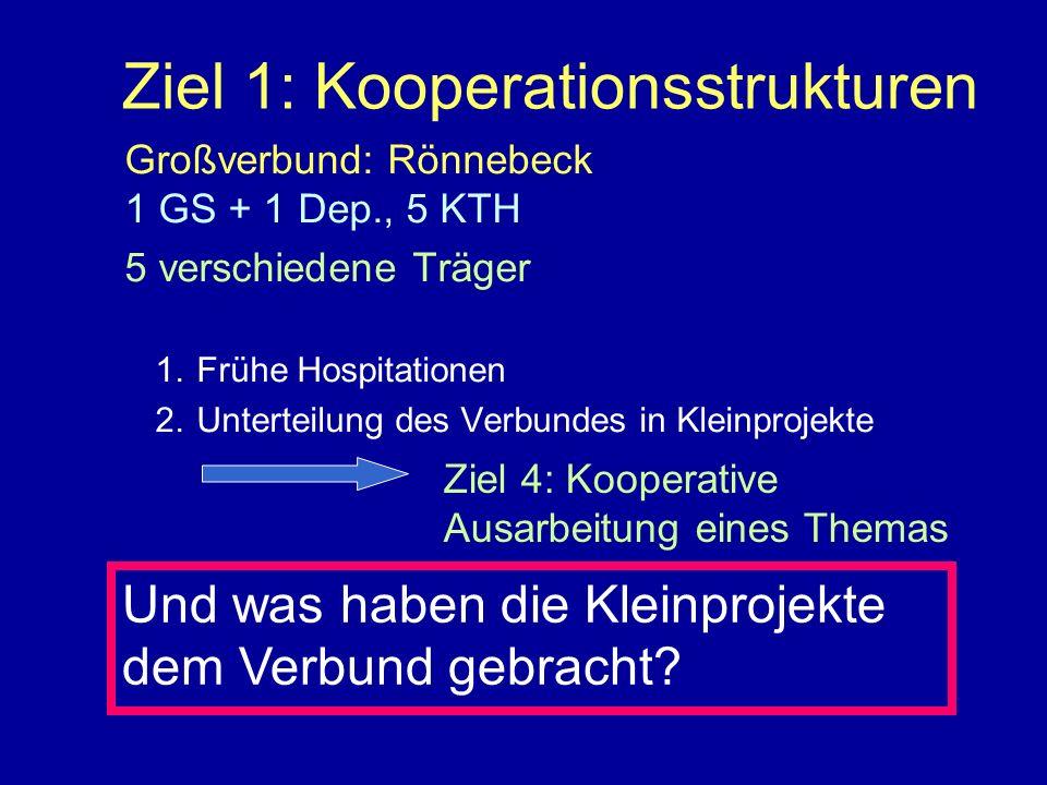 Ziel 1: Kooperationsstrukturen Großverbund: Rönnebeck 1 GS + 1 Dep., 5 KTH 5 verschiedene Träger 1.Frühe Hospitationen 2.Unterteilung des Verbundes in