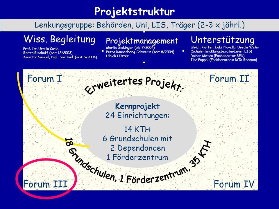Projektstruktur Kernprojekt 24 Einrichtungen: 14 KTH 6 Grundschulen mit 2 Dependancen 1 Förderzentrum Forum IForum II Forum IIIForum IV Lenkungsgruppe