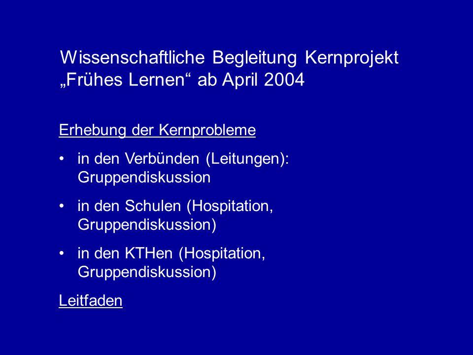 Wissenschaftliche Begleitung Kernprojekt Frühes Lernen ab April 2004 Erhebung der Kernprobleme in den Verbünden (Leitungen): Gruppendiskussion in den