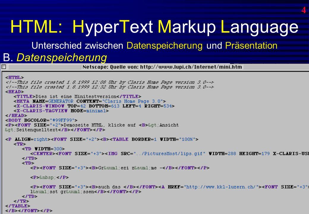 HTML: HyperText Markup Language 0 4 Unterschied zwischen Datenspeicherung und Präsentation A.