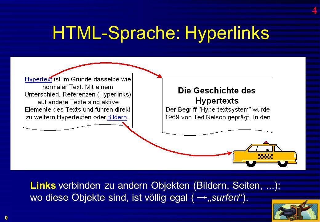 HTML: HyperText Markup Language 0 4 Unterschied zwischen Datenspeicherung und Präsentation B.