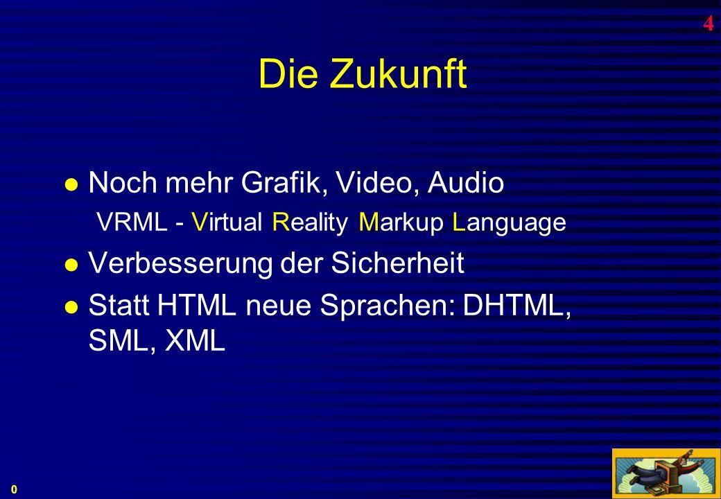 HTML-Sprache: Hyperlinks Links verbinden zu andern Objekten (Bildern, Seiten,...); wo diese Objekte sind, ist völlig egal ( surfen).