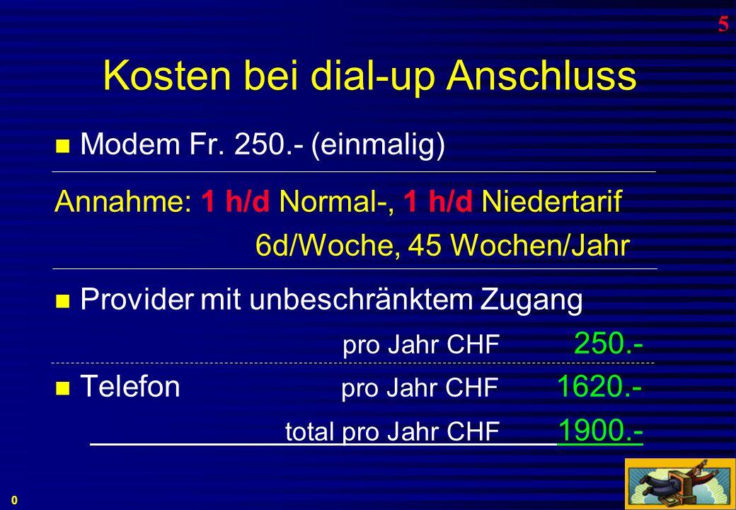 via Fernsehkabel Anschluss über Cablecom sehr schnelle Verbindung - bis zum Internet...