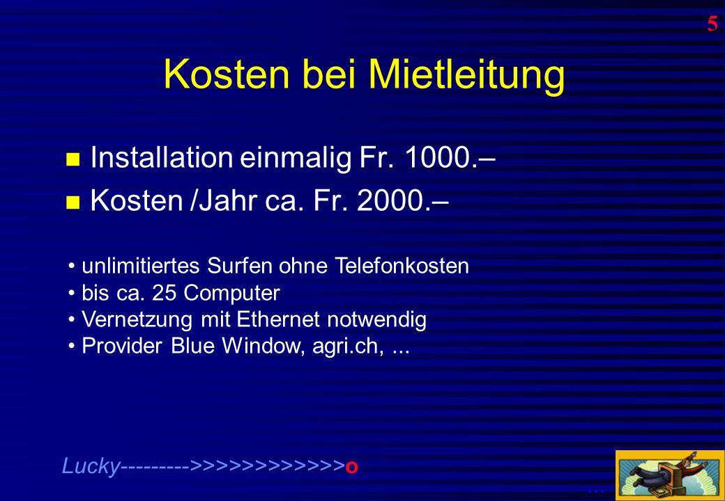 Kosten bei dial-up Anschluss Modem Fr.