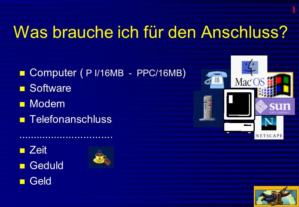 Die zwei wichtigsten Browser Netscape Navigator: Bis 1999 verbreitetste Internet-Software Internet Explorer: Wird mit MS-Office-Paket mitgeliefert und ist vollständig integriert.
