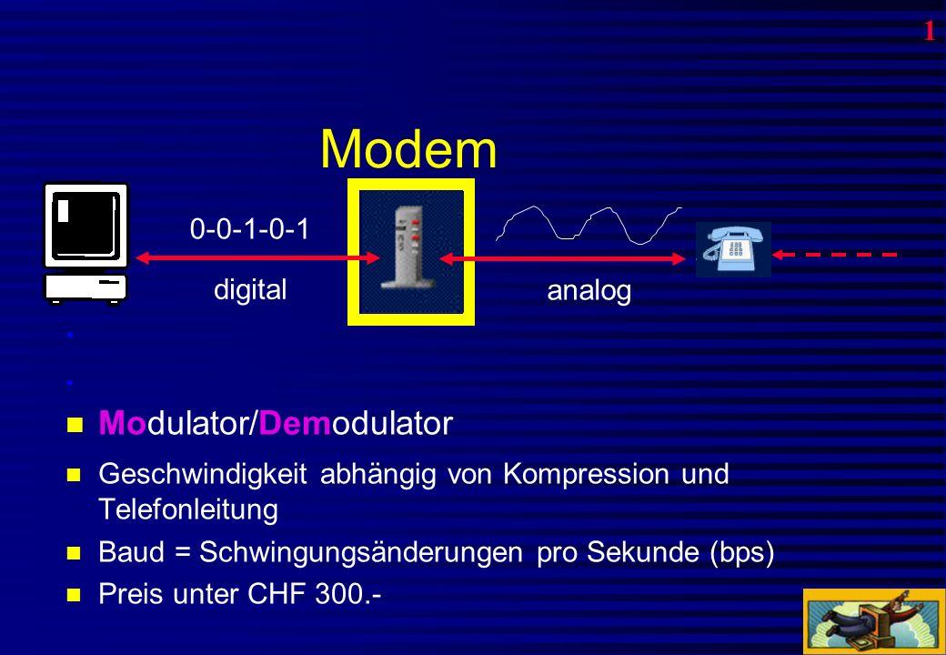 ISDN = I ntegrated S ervices D igital N etwork 1 Anschluss, 5 Nummern, 2 Verbindungen gleichzeitig Kosten: CHF 53.–/Mt.