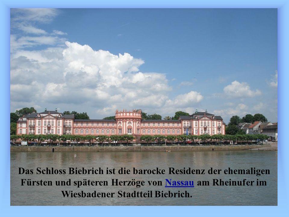 Das Schloss Biebrich ist die barocke Residenz der ehemaligen Fürsten und späteren Herzöge von Nassau am Rheinufer imNassau Wiesbadener Stadtteil Biebrich.