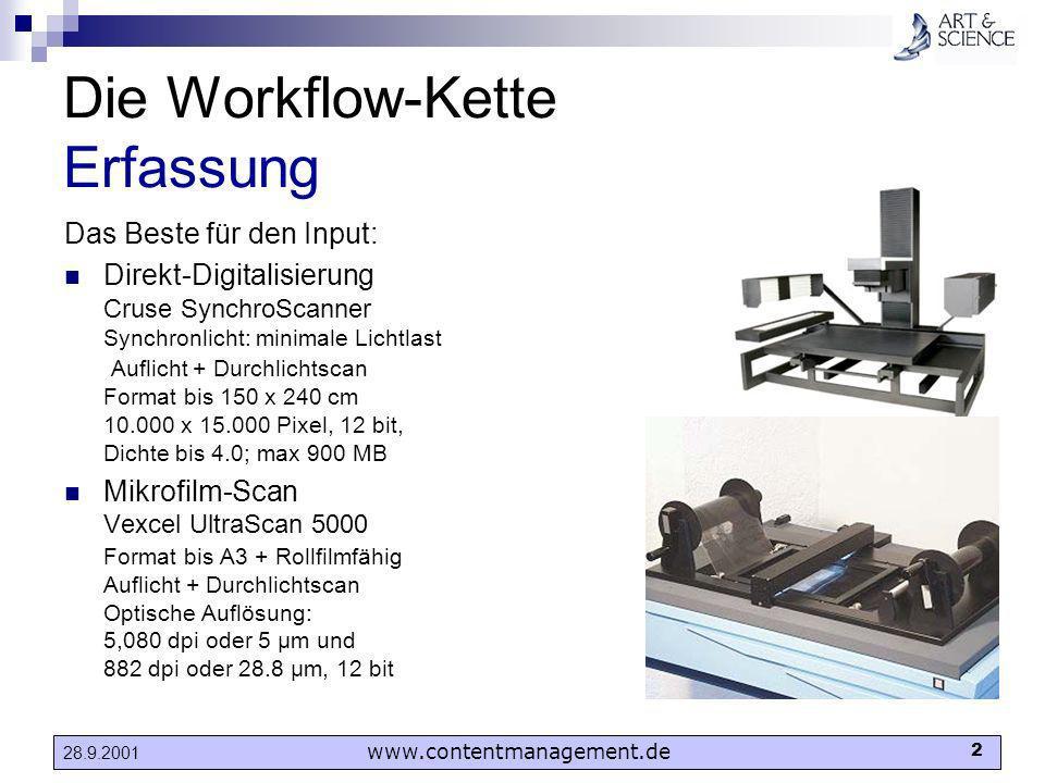 www.contentmanagement.de 2 28.9.2001 Die Workflow-Kette Erfassung Das Beste für den Input: Direkt-Digitalisierung Cruse SynchroScanner Synchronlicht: