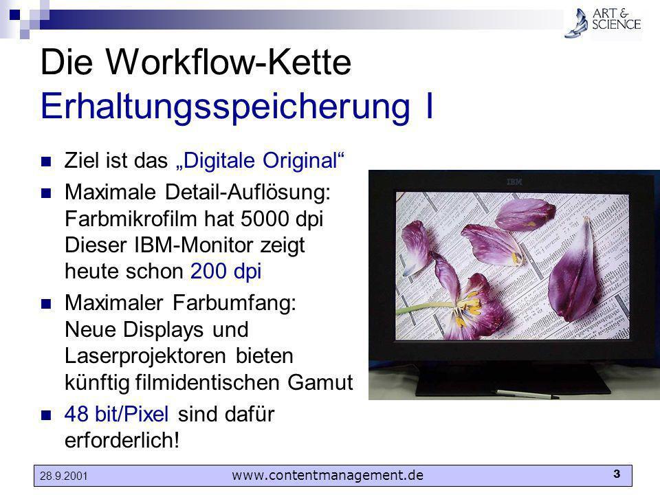 www.contentmanagement.de 3 28.9.2001 Die Workflow-Kette Erhaltungsspeicherung I Ziel ist das Digitale Original Maximale Detail-Auflösung: Farbmikrofil