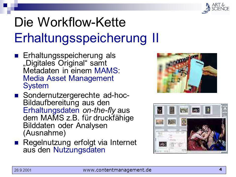 www.contentmanagement.de 4 28.9.2001 Die Workflow-Kette Erhaltungsspeicherung II Erhaltungsspeicherung als Digitales Original samt Metadaten in einem
