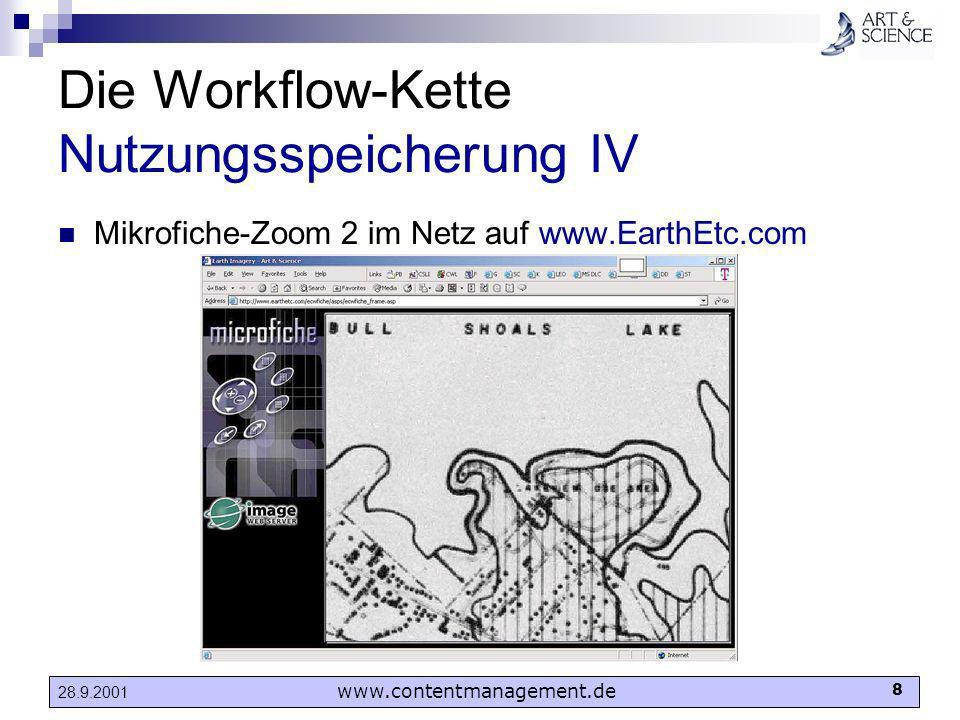 www.contentmanagement.de 8 28.9.2001 Die Workflow-Kette Nutzungsspeicherung IV Mikrofiche-Zoom 2 im Netz auf www.EarthEtc.com