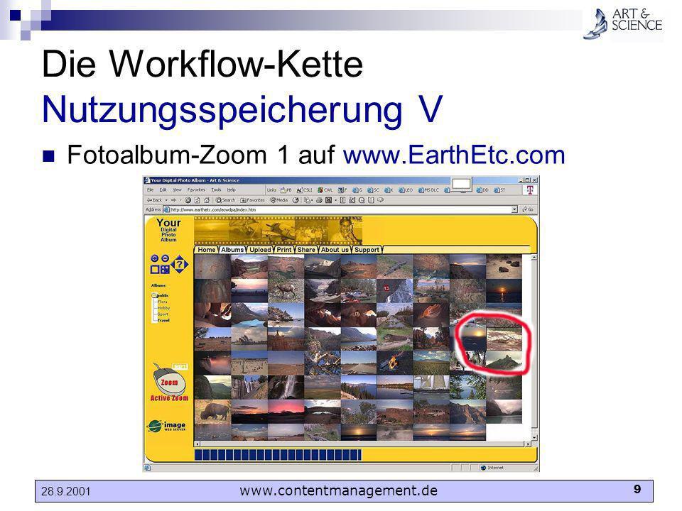 www.contentmanagement.de 9 28.9.2001 Die Workflow-Kette Nutzungsspeicherung V Fotoalbum-Zoom 1 auf www.EarthEtc.com