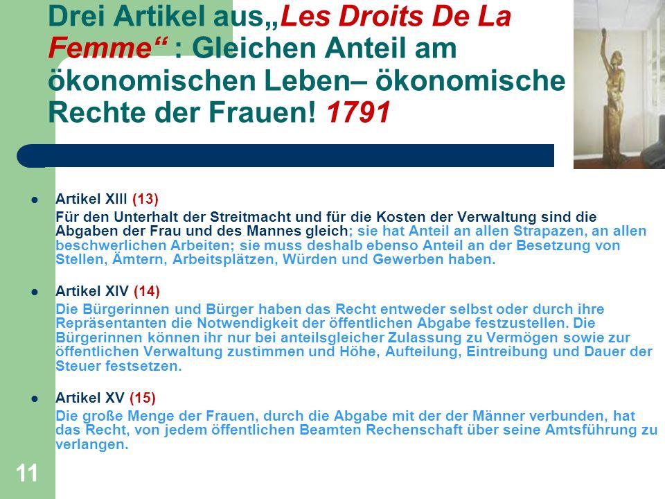 11 Drei Artikel ausLes Droits De La Femme : Gleichen Anteil am ökonomischen Leben– ökonomische Rechte der Frauen.