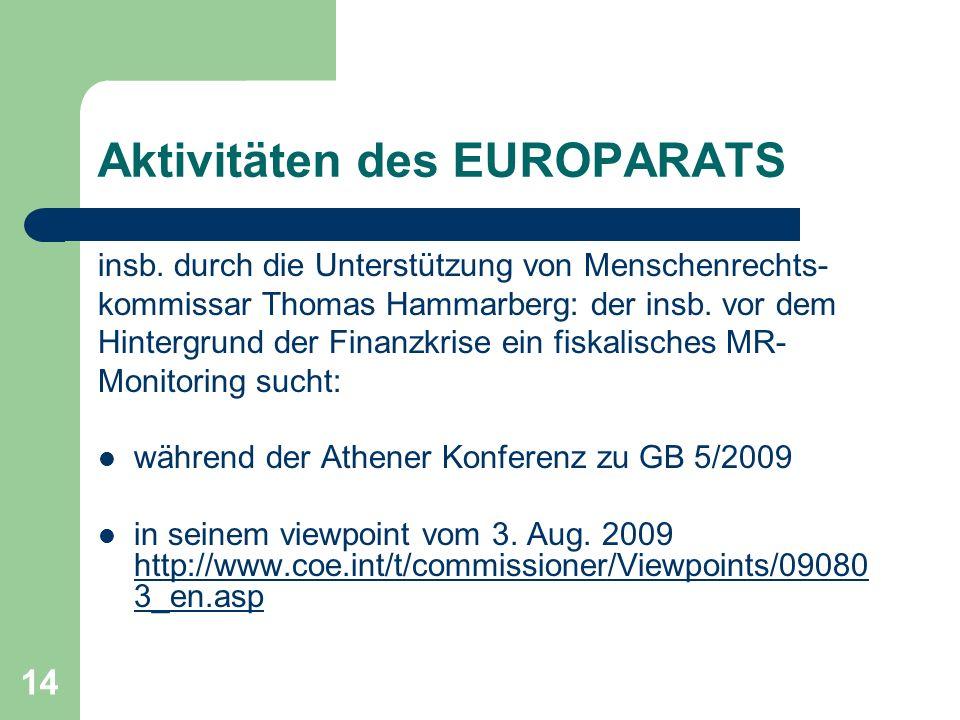 14 Aktivitäten des EUROPARATS insb.