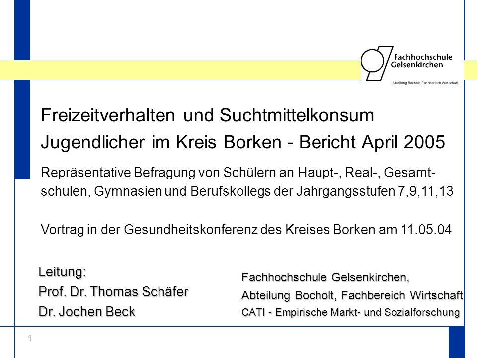 1 Freizeitverhalten und Suchtmittelkonsum Jugendlicher im Kreis Borken - Bericht April 2005 Fachhochschule Gelsenkirchen, Abteilung Bocholt, Fachberei
