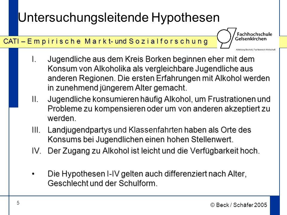 5 CATI – E m p i r i s c h e M a r k t- und S o z i a l f o r s c h u n g © Beck / Schäfer 2005 Untersuchungsleitende Hypothesen I.Jugendliche aus dem