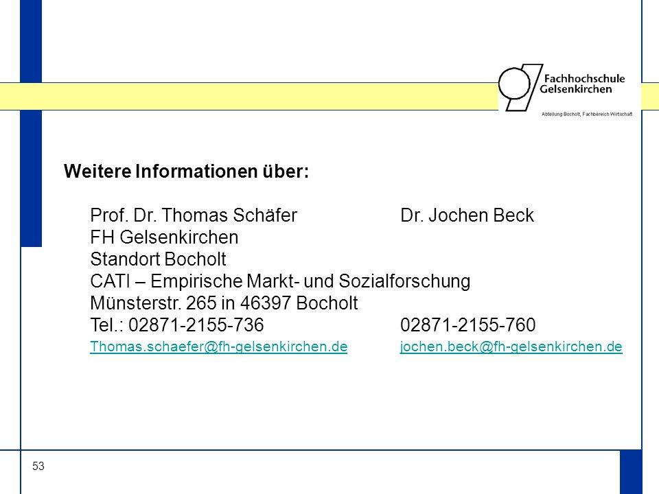 53 Weitere Informationen über: Prof. Dr. Thomas SchäferDr. Jochen Beck FH Gelsenkirchen Standort Bocholt CATI – Empirische Markt- und Sozialforschung
