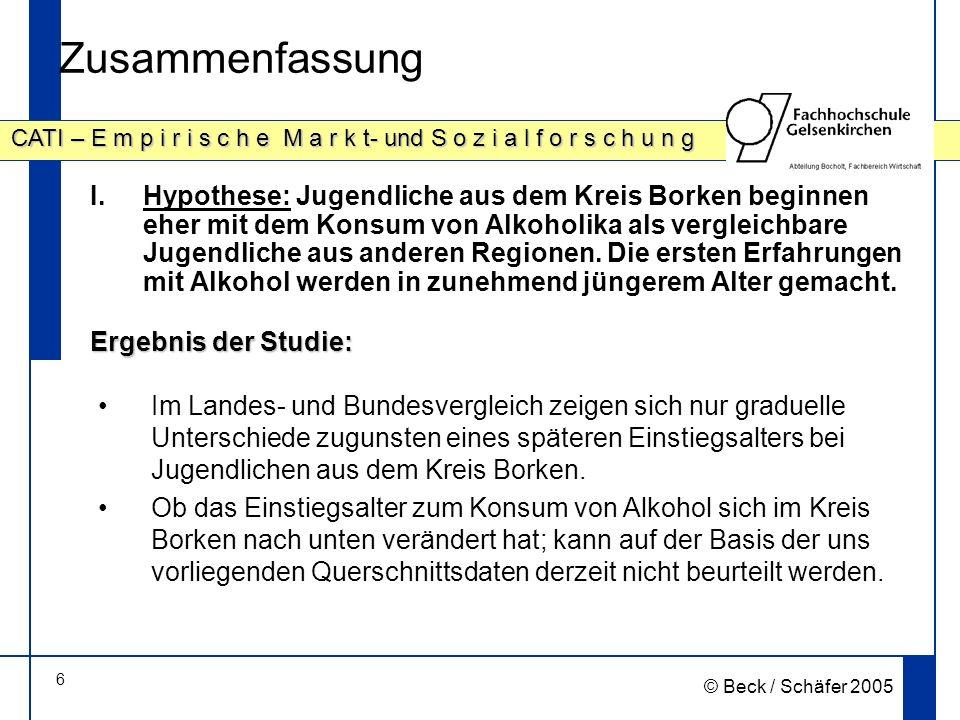 47 CATI – E m p i r i s c h e M a r k t- und S o z i a l f o r s c h u n g © Beck / Schäfer 2005 Vergleiche (D – NRW – Kreis Borken) Übergewichtigkeit (incl.