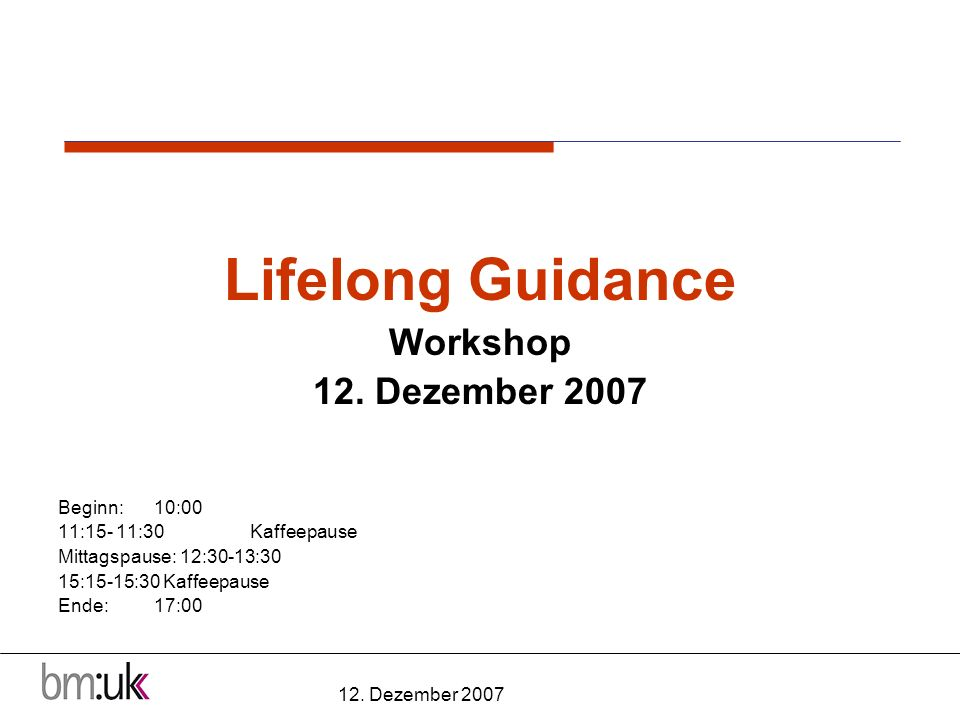 12. Dezember 2007 Lifelong Guidance Workshop 12.
