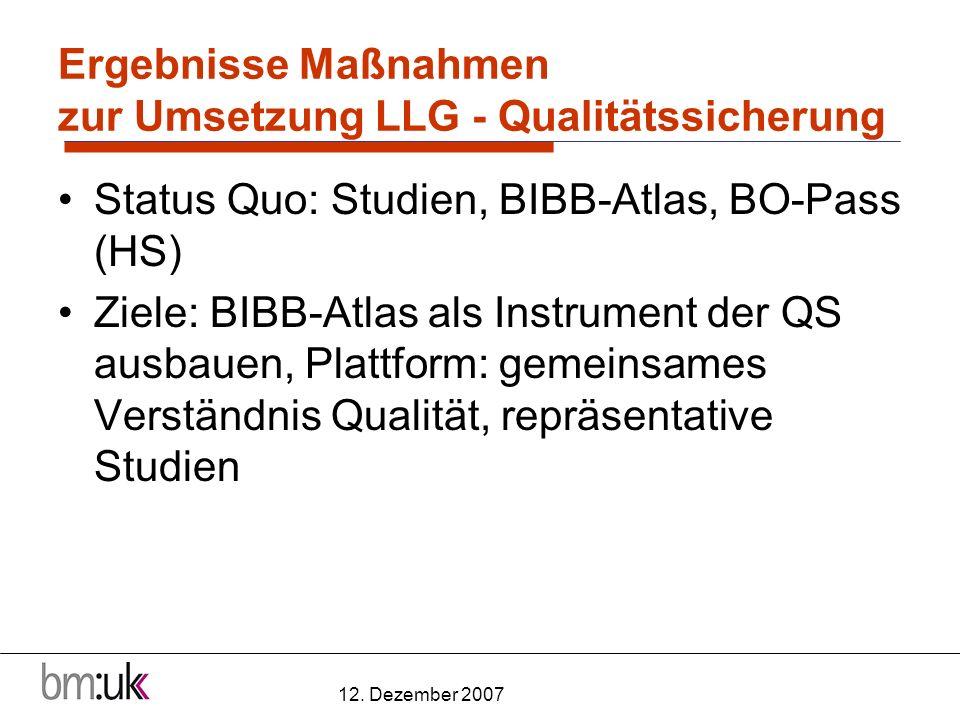 12. Dezember 2007 Ergebnisse Maßnahmen zur Umsetzung LLG - Qualitätssicherung Status Quo: Studien, BIBB-Atlas, BO-Pass (HS) Ziele: BIBB-Atlas als Inst