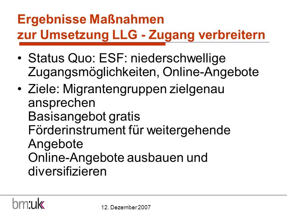 12. Dezember 2007 Ergebnisse Maßnahmen zur Umsetzung LLG - Zugang verbreitern Status Quo: ESF: niederschwellige Zugangsmöglichkeiten, Online-Angebote