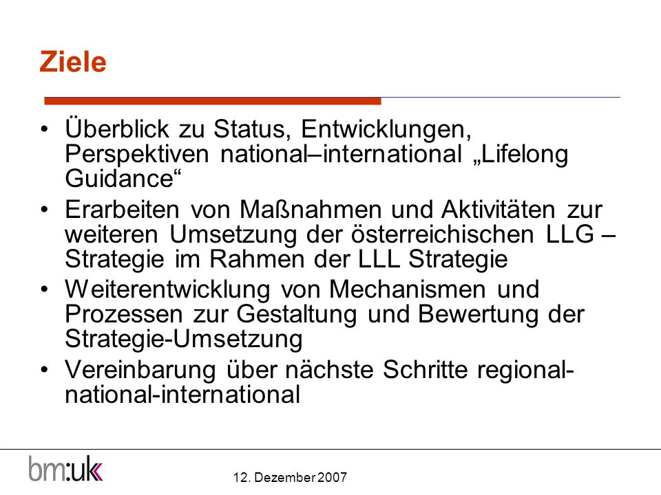 12. Dezember 2007 Ziele Überblick zu Status, Entwicklungen, Perspektiven national–international Lifelong Guidance Erarbeiten von Maßnahmen und Aktivit