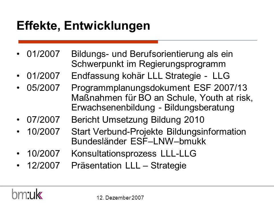 12. Dezember 2007 Effekte, Entwicklungen 01/2007 Bildungs- und Berufsorientierung als ein Schwerpunkt im Regierungsprogramm 01/2007 Endfassung kohär L