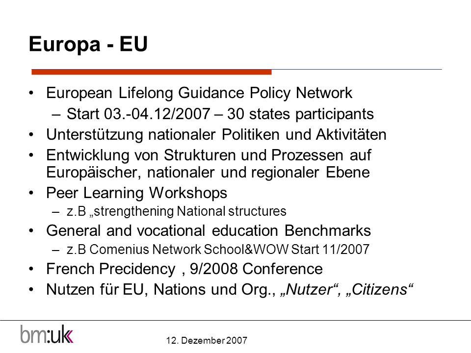 12. Dezember 2007 Europa - EU European Lifelong Guidance Policy Network –Start 03.-04.12/2007 – 30 states participants Unterstützung nationaler Politi