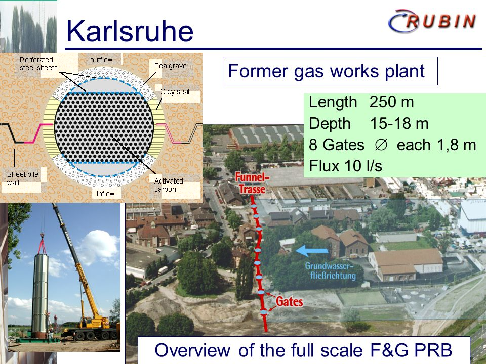 Karlsruhe Overview of the full scale F&G PRB Former gas works plant Length 250 m Depth 15-18 m 8 Gates each 1,8 m Flux 10 l/s