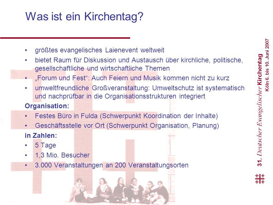 31.Deutscher Evangelischer Kirchentag Köln 6. bis 10.