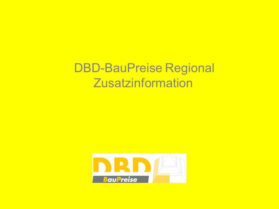 Ab Mai 2009 werden alle Produkte der DBD-BauPreise optional auch mit regional differenzierten Preisinformationen geliefert.