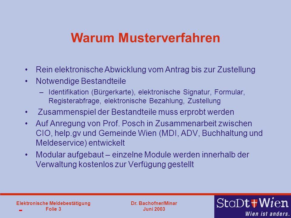 Dr. Bachofner/Minar Juni 2003 Elektronische Meldebestätigung Folie 3 Warum Musterverfahren Rein elektronische Abwicklung vom Antrag bis zur Zustellung