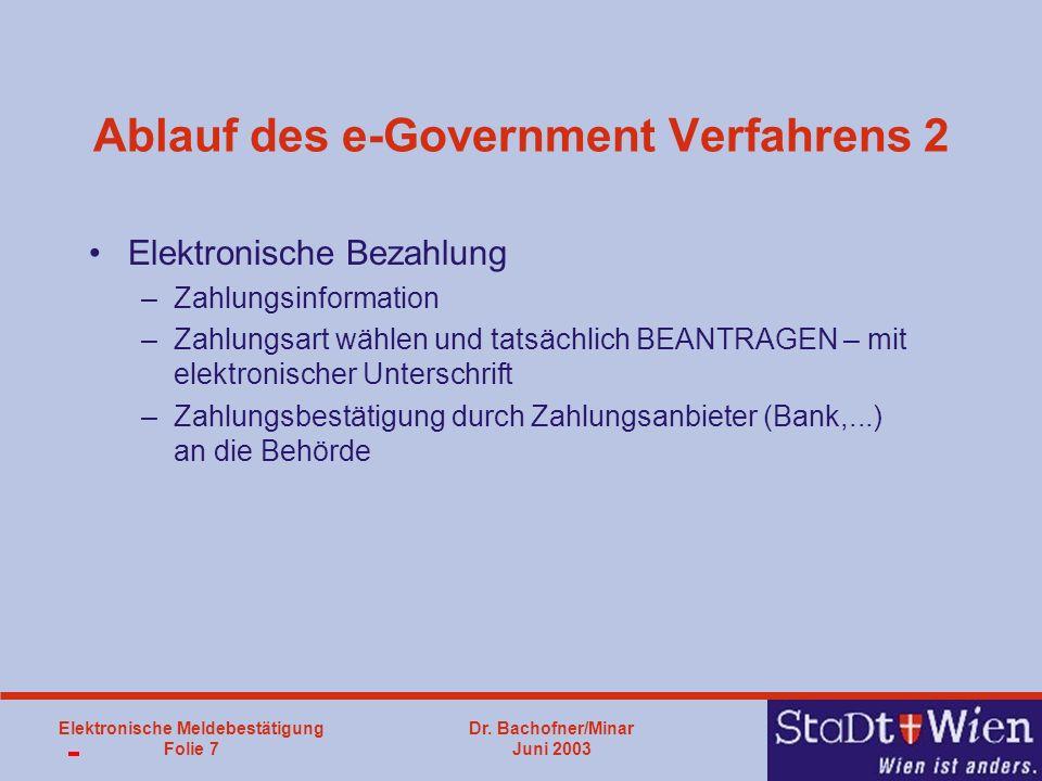 Dr. Bachofner/Minar Juni 2003 Elektronische Meldebestätigung Folie 7 Ablauf des e-Government Verfahrens 2 Elektronische Bezahlung –Zahlungsinformation