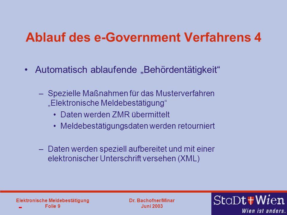 Dr. Bachofner/Minar Juni 2003 Elektronische Meldebestätigung Folie 9 Ablauf des e-Government Verfahrens 4 Automatisch ablaufende Behördentätigkeit –Sp