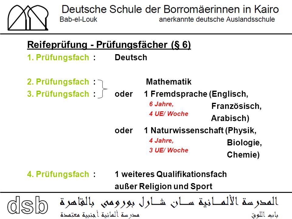 Reifeprüfung - Prüfungsfächer (§ 6) 1. Prüfungsfach : Deutsch 2.