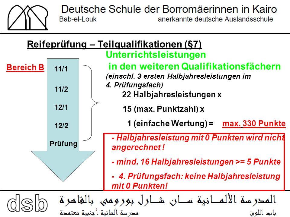 Reifeprüfung – Teilqualifikationen (§7) 11/1 11/2 12/2 12/1 Prüfung Bereich B Unterrichtsleistungen in den weiteren Qualifikationsfächern (einschl.